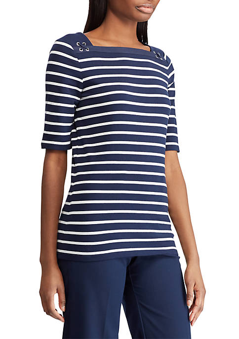Chaps Striped Jersey Top