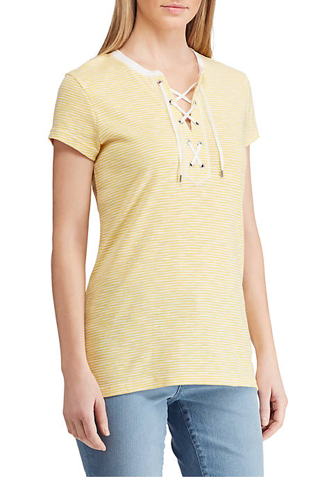 Striped Lace Up Cotton Top