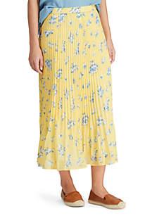 Chaps Floral Pleat Skirt