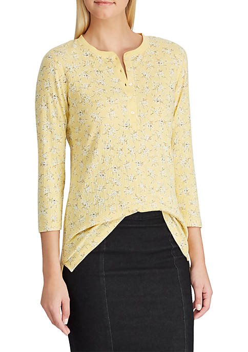 Chaps Waffle-Knit Cotton Henley Top