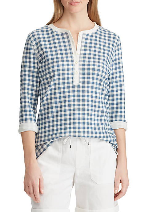 Chaps Check Henley Top