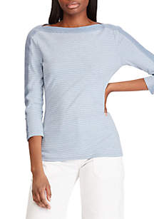Chaps 3/4 Sleeve Lace Up Knit Top