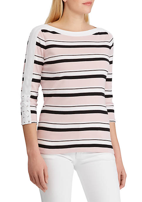 Chaps Striped Boat Neck Top