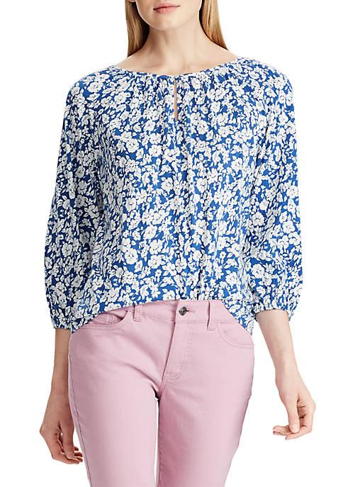 Floral Peasant Knit Top