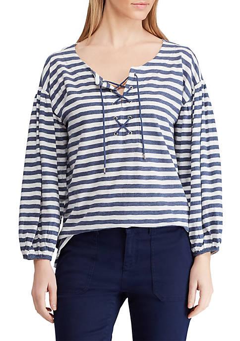 Chaps Lace Up Stripe Knit Top