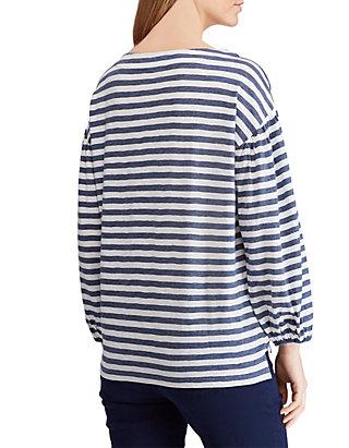 bd28a0f5718db9 ... Chaps Lace Up Stripe Knit Top ...