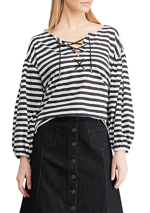 Chaps Lace Up Stripe Knit Top