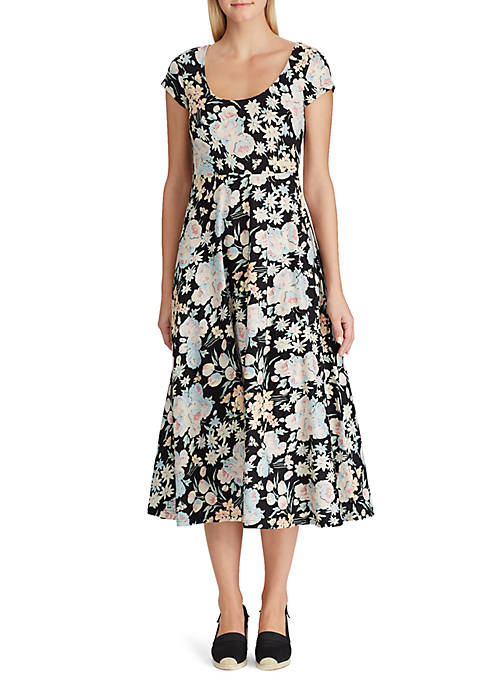 Chaps Short Sleeve Floral Midi Dress
