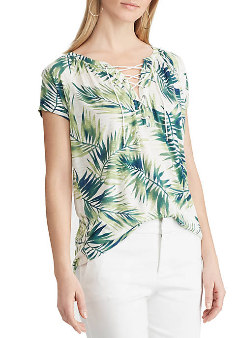 Chaps Palm Print Jersey Top