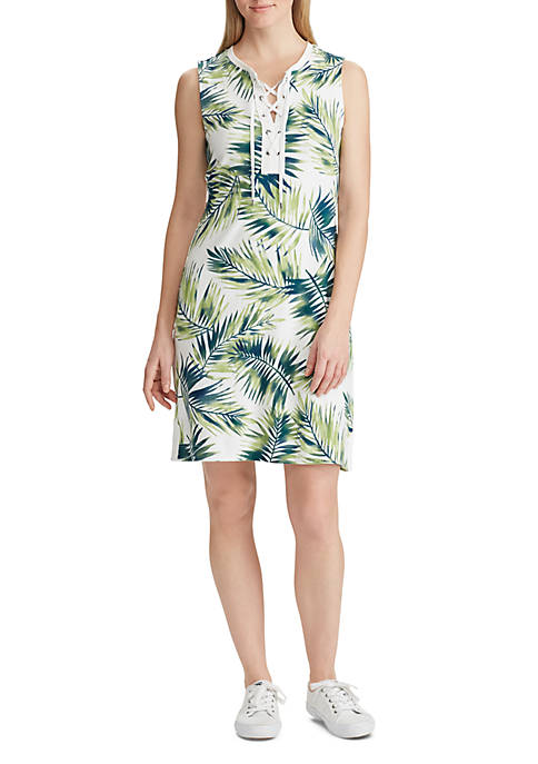 Palm Print Cotton Dress