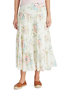 Chaps Crinkle Floral Maxi Skirt