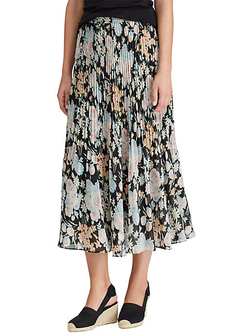 Chaps Release Pleat Floral Skirt