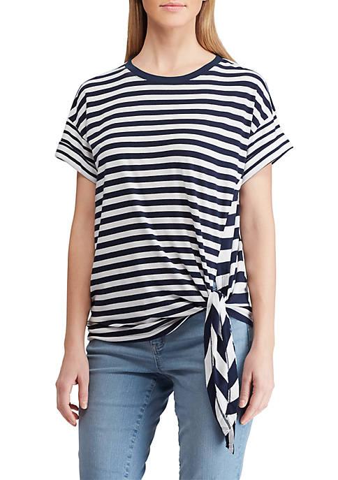 Short Sleeve Side Tie Stripe T Shirt