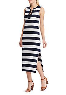 Chaps Bonnie Striped Sleeveless Dress