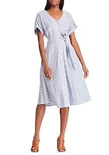 1c8e3bdd646 Chaps Crinkle Gingham Peasant Blouse · Chaps Striped Cotton Linen Dress