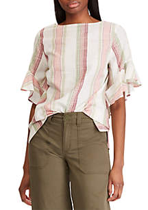 Chaps Chambray Short Sleeve Blouse