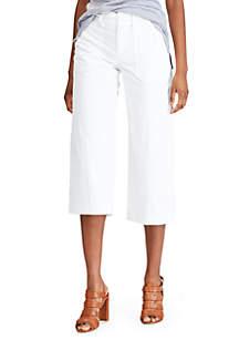 Chaps Stretch Cotton Wide Leg Crop Pants