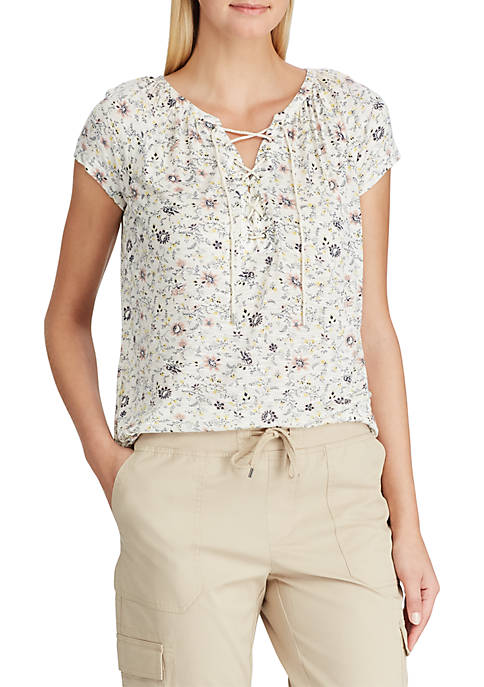 Lace Up Floral Peasant Knit Top