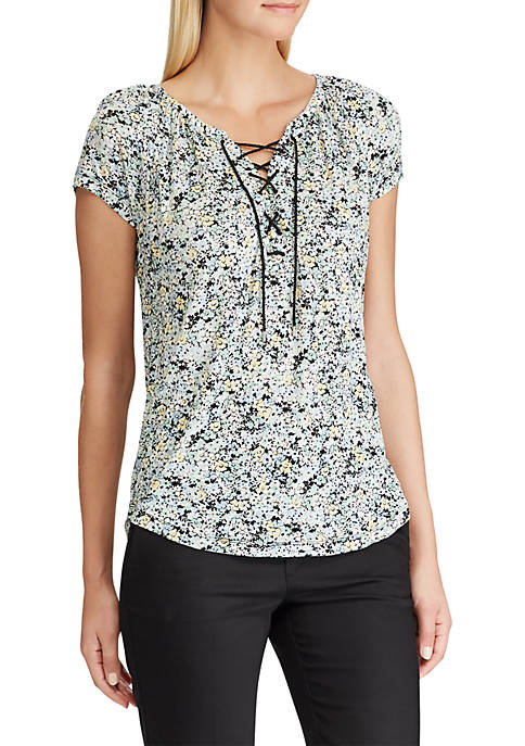 Chaps Lace Up Floral Peasant Top