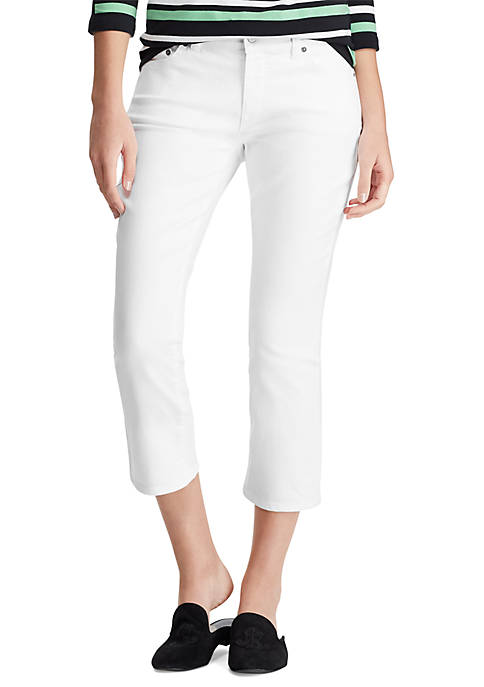 Chaps Rachel White Denim Cropped Pants