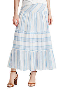 Chaps Tiered Cotton Skirt