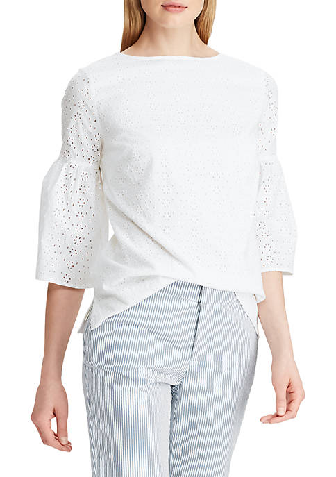 Chaps Eyelet Bell Sleeve Top