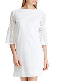 Chaps Eyelet Bell Sleeve Dress