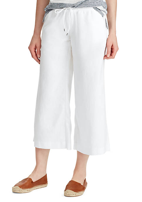Striped Cropped Linen Blend Pants