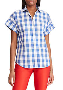 Chaps Stretch Poplin Short Sleeve Button Down Shirt