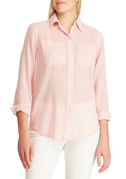 Chaps Long Sleeve Utility Button-Down Shirt