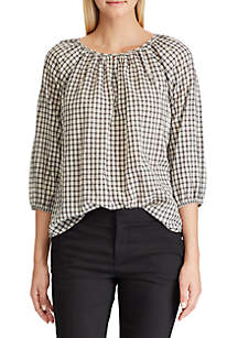 Chaps Crinkle Gingham Peasant Blouse