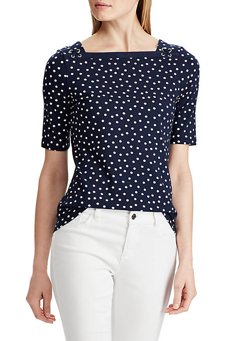 Chaps Lohan Elbow Sleeve Lace Up Dot Top