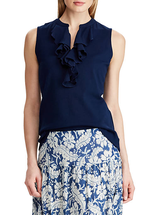Chaps Ruffled Cotton Sleeveless Top