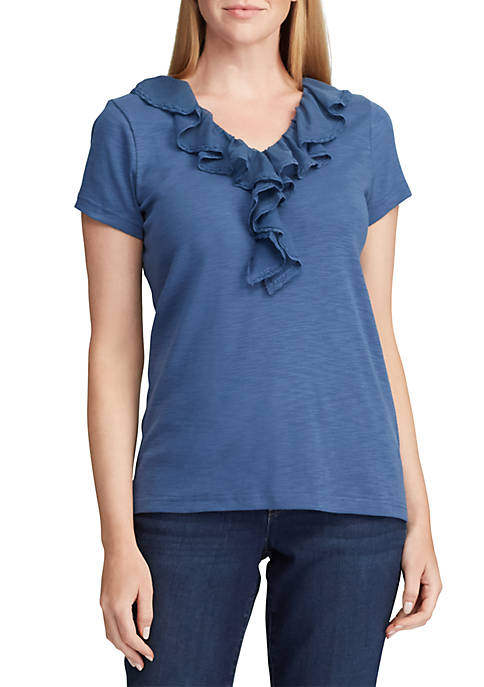 Chaps Lucus Short Sleeve Ruffle V Neck Knit