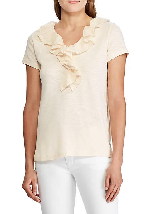 Lace Trim Cotton T-Shirt