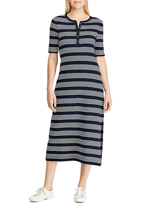Chaps Womens Drewe Stripe Waffle Dress