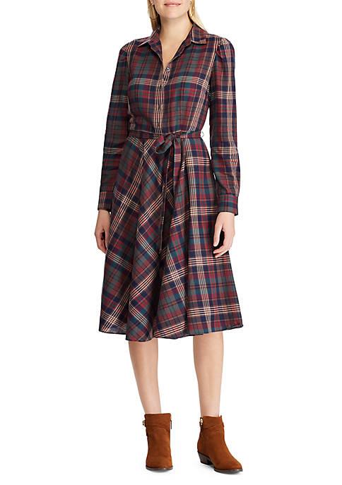 Womens Stefanie Plaid Shirt Dress