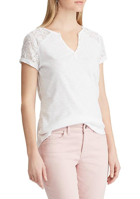 Lace Panel Cotton Top
