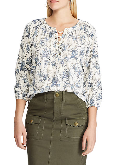 Chaps Womens Sinclair Floral Laceup Peasant Top