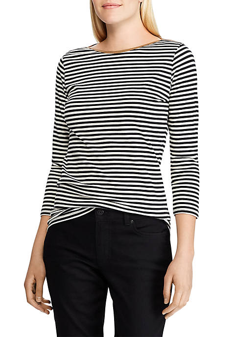 Chaps Womens Keery Striped Suede Trimmed Knit Top