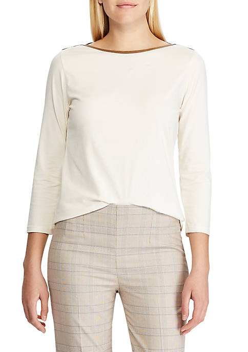 Chaps Womens Keery Suede Trimmed Knit Top