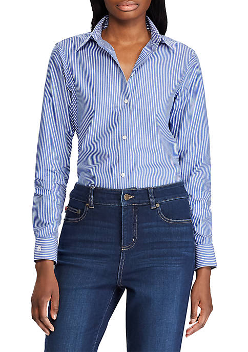 Chaps Womens Jamie Long Sleeve Stripe Non Iron