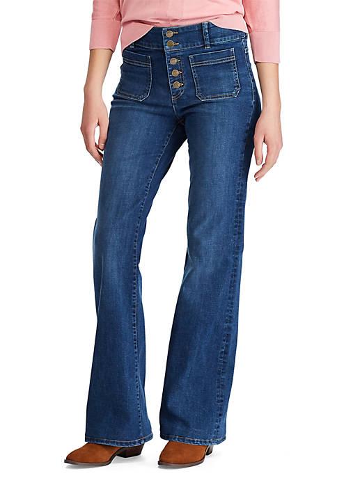 Womens Myles Button Front Wide Leg Jeans