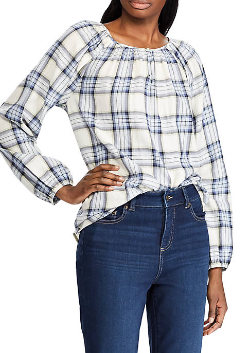 Chaps Womens Roby Plaid Peasant Blouse