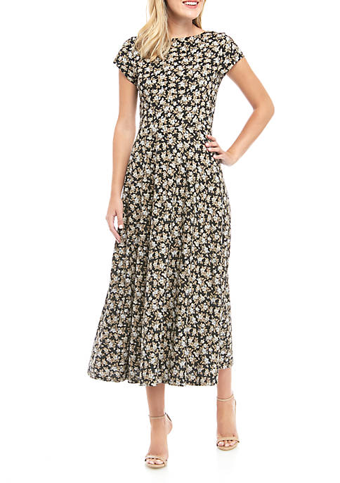 Harlowe Ditsy Short Sleeve Midi Dress