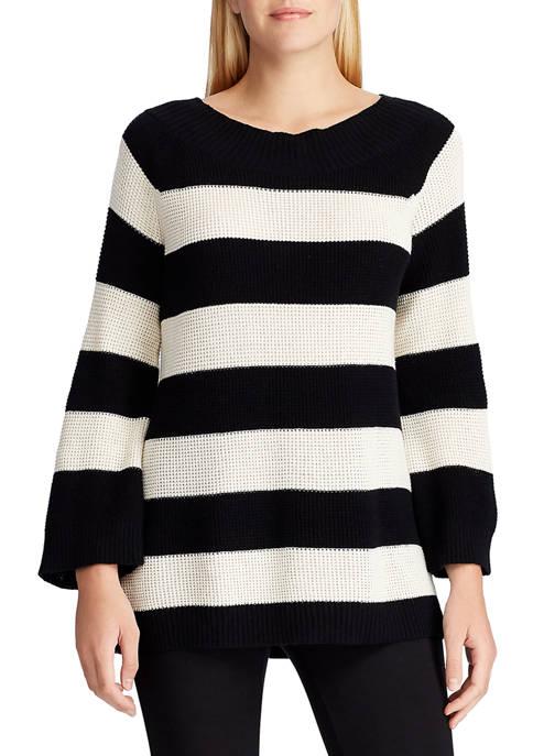 Chaps Womens Stripe Waffle Sweater