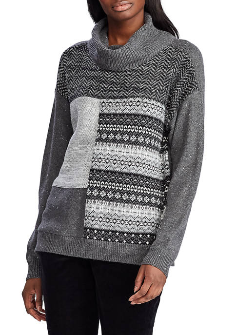 Chaps Womens Color Block Fair Isle Sweater