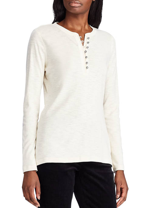 Chaps Womens Mandy Bling Button Henley Top
