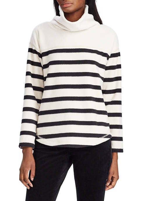 Chaps Womens Pelham Stripe Fleece Cowl Neck Sweatshirt