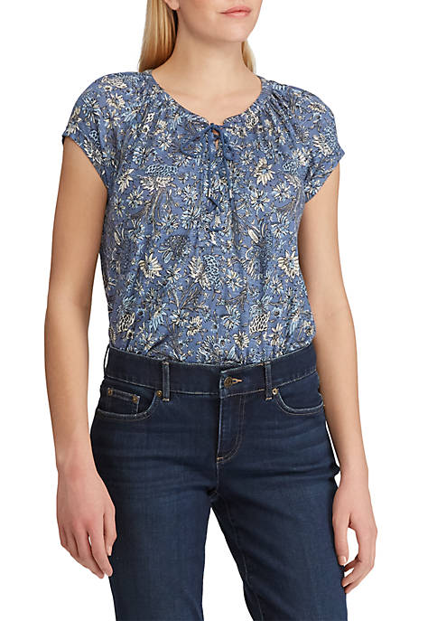 Chaps Ryder Floral Lace Up Peasant Top